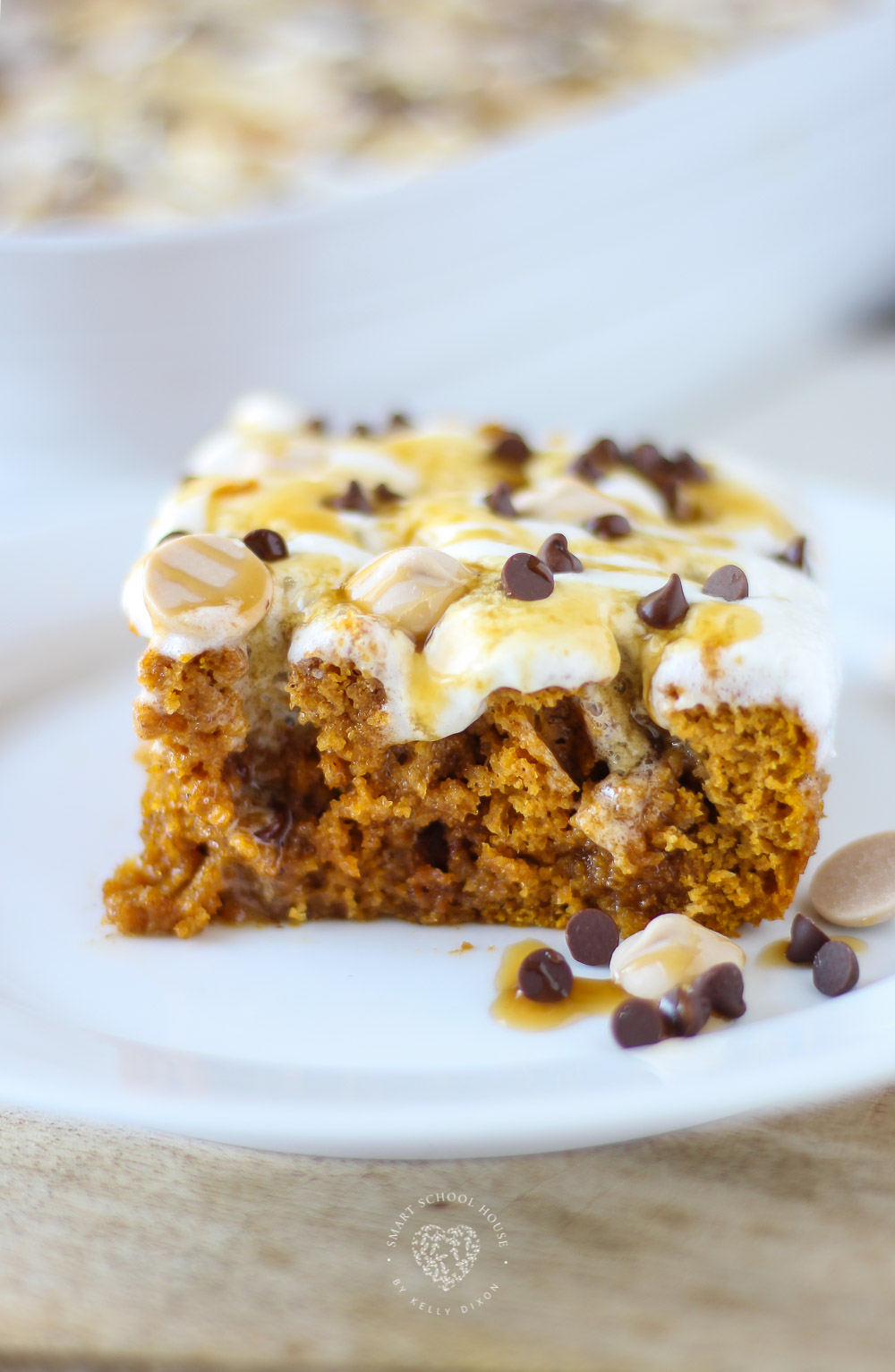 This Pumpkin Spice Poke Cake is the only poke cake recipe you will need from now until Christmas. It's soft, fluffy, and overflowing with melted cream cheese frosting and caramel.
