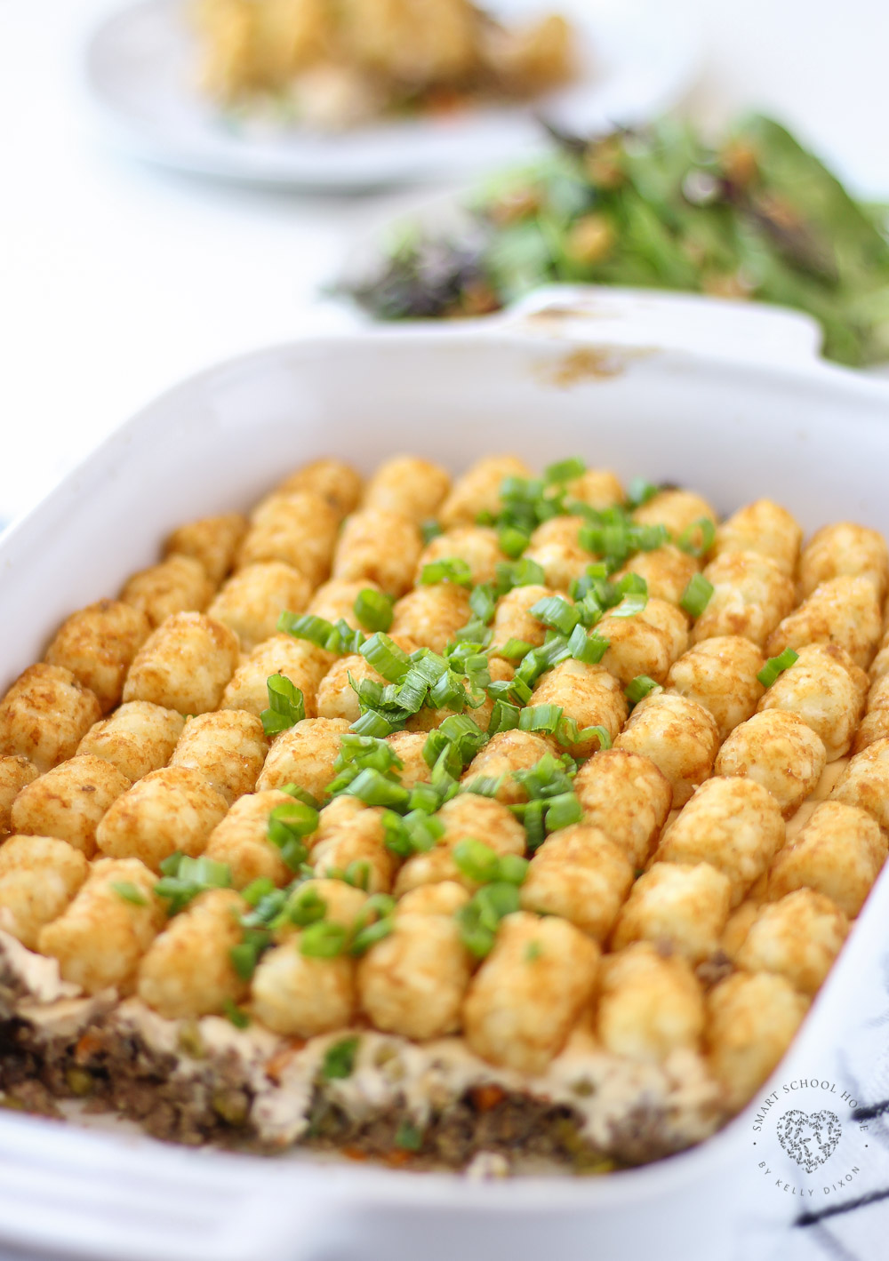 Put on your comfiest pajamas, a good show, and enjoy each other's company with this quick and easy Cheesy Tater Tot Casserole recipe that everyone loves.