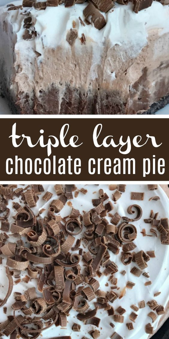 No Bake Triple Layer Chocolate Cream Pie | No Bake Pie | Pie | No bake triple layer chocolate cream pie is a must make for your Holiday table! Three layers of creamy chocolate pudding inside a chocolate cookie crust. No bake, 4 ingredients, and some fridge time is all you need for the best chocolate cream pie dessert. #thanksgivingrecipe #pie #dessert #chocolate #recipeoftheday #easydessertrecipe