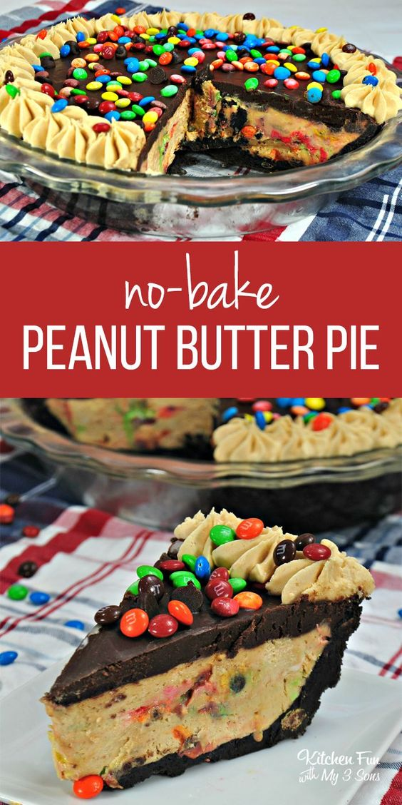 No-Bake M&M Chocolate Peanut Butter Pie recipe. #peanutbutter #pie #nobake #recipe #yummy #food #foodblogger