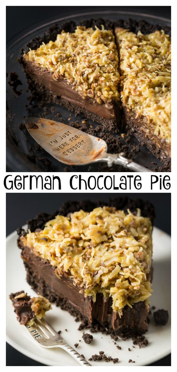 No-Bake German Chocolate Pie with Oreo Cookie Crust
