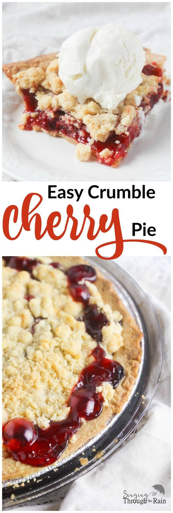Easy Crumble Cherry Pie - This delicious cherry pie is perfect for the upcoming holidays and even if you aren't the best chef, this easy recipe is sure to wow your friends and family. Bon-Appetit!