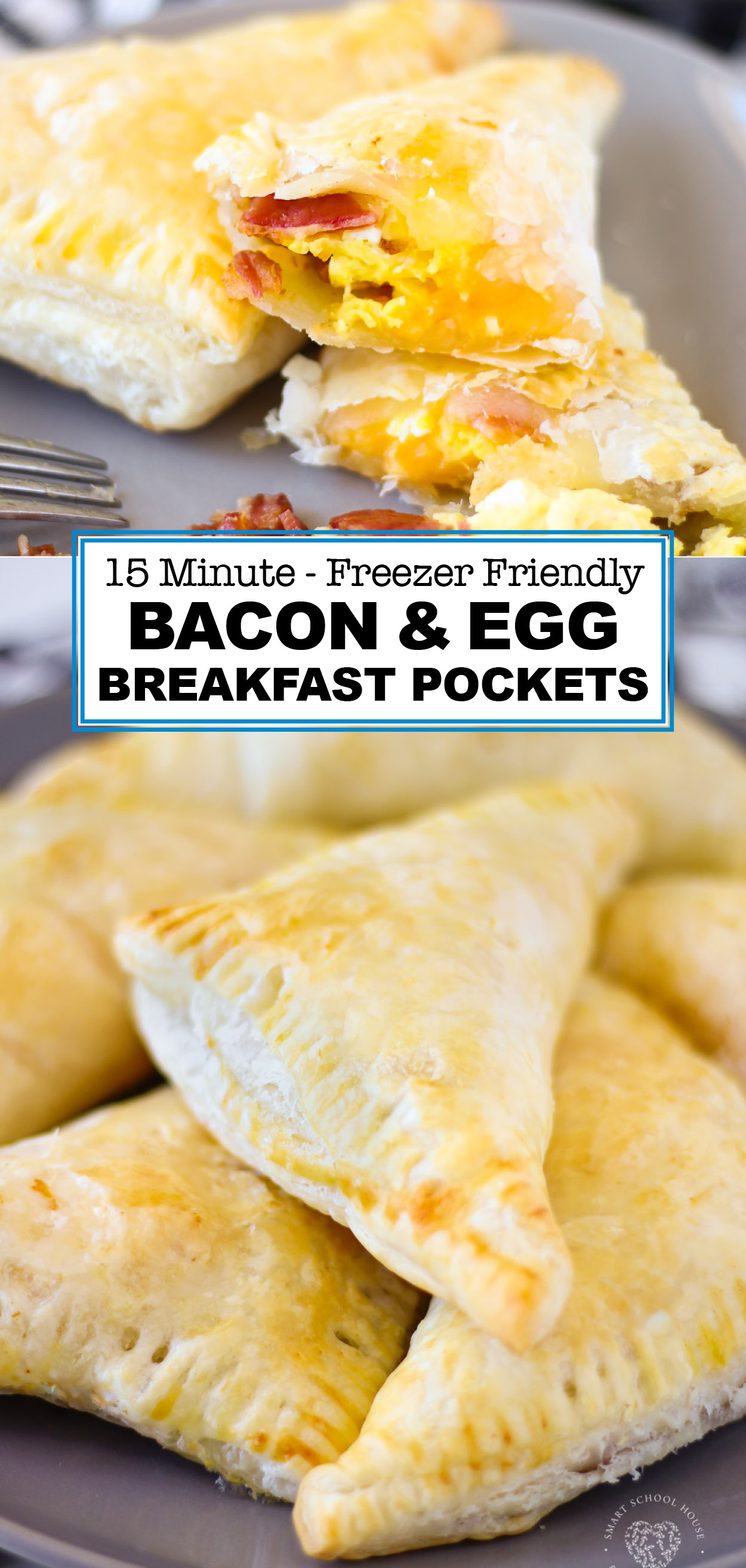 Bacon and Egg Breakfast Pockets Made with Puff Pastry Dough. These Breakfast Pockets are great to make ahead and can be frozen. Kids love them! A complete breakfast inside a tidy pocket of dough. DELICIOUS!