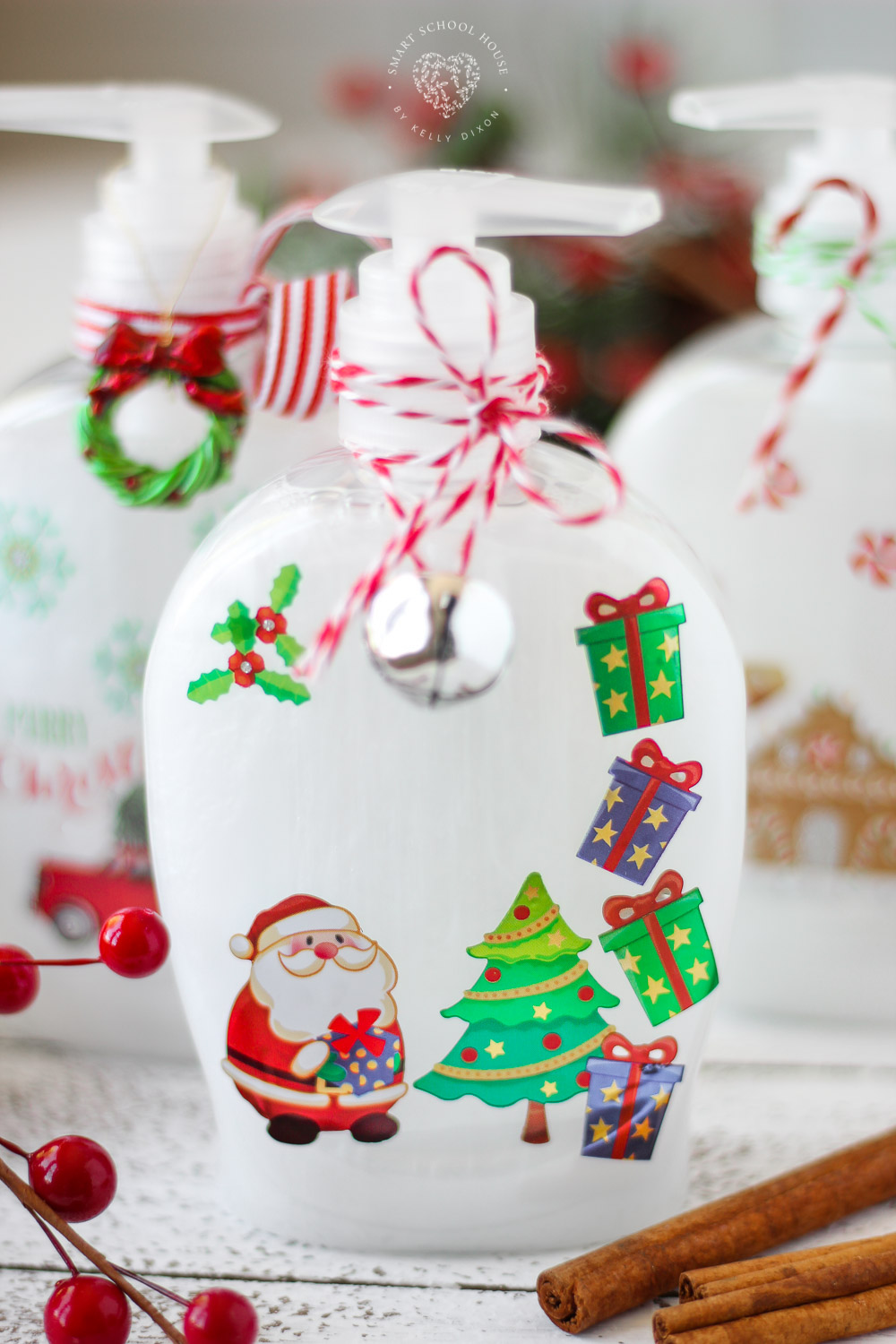 Beautiful soap bottles for the holidays! The perfect DIY Christmas gift idea. Inexpensive Christmas soap bottles. You'll never believe how EASY they are to make!