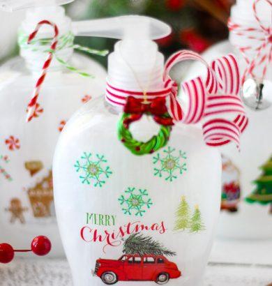 DIY Christmas Soap Bottles