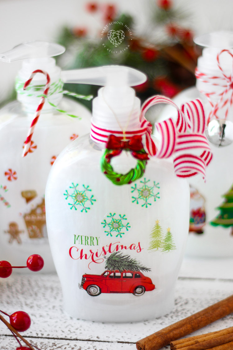 DIY Christmas Soap Bottles