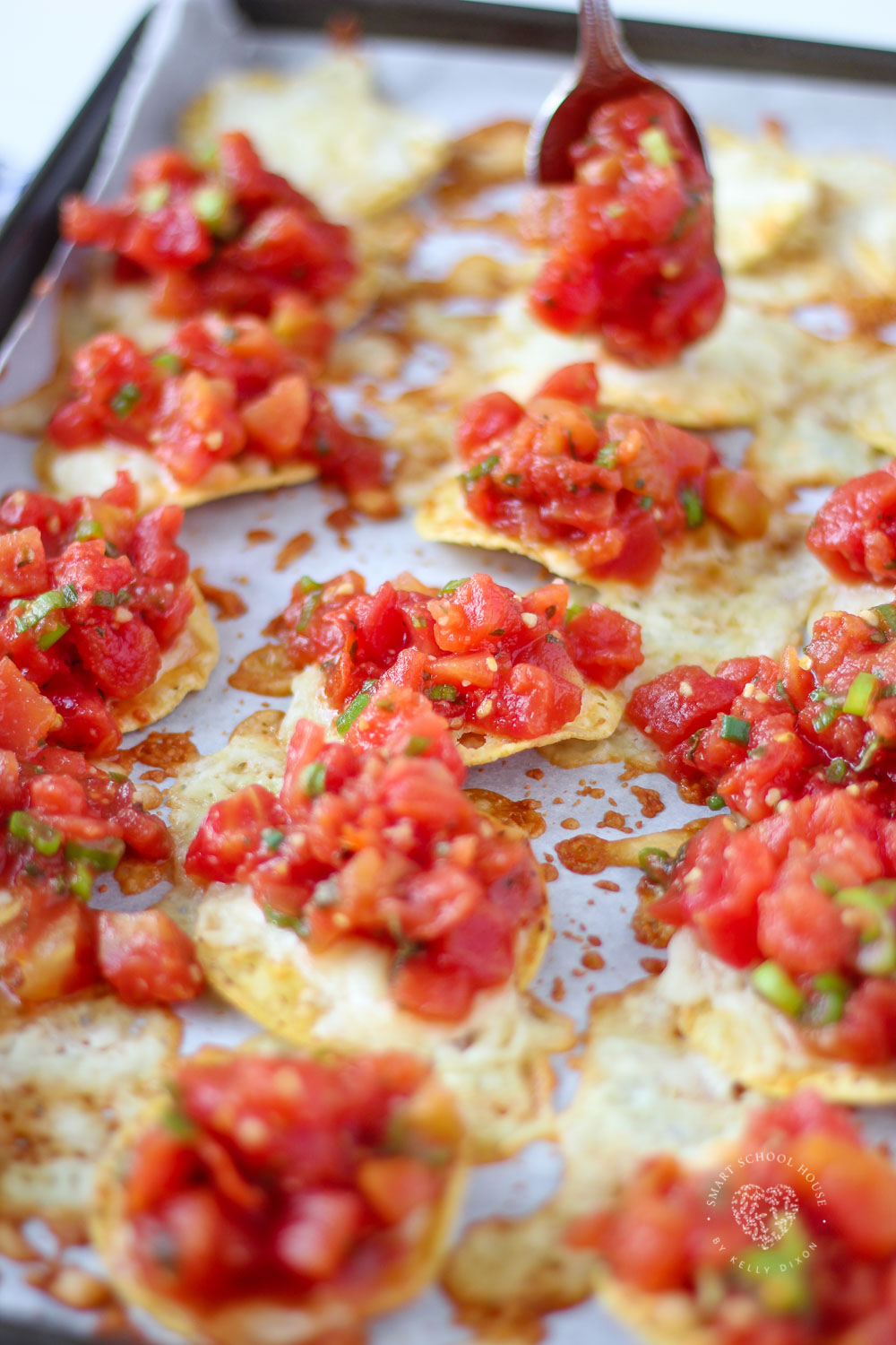 Tomato Bruschetta and Mozzarella Chips is always a crowd favorite over the holidays, at parties or even as a quick appetizer before dinner at home.