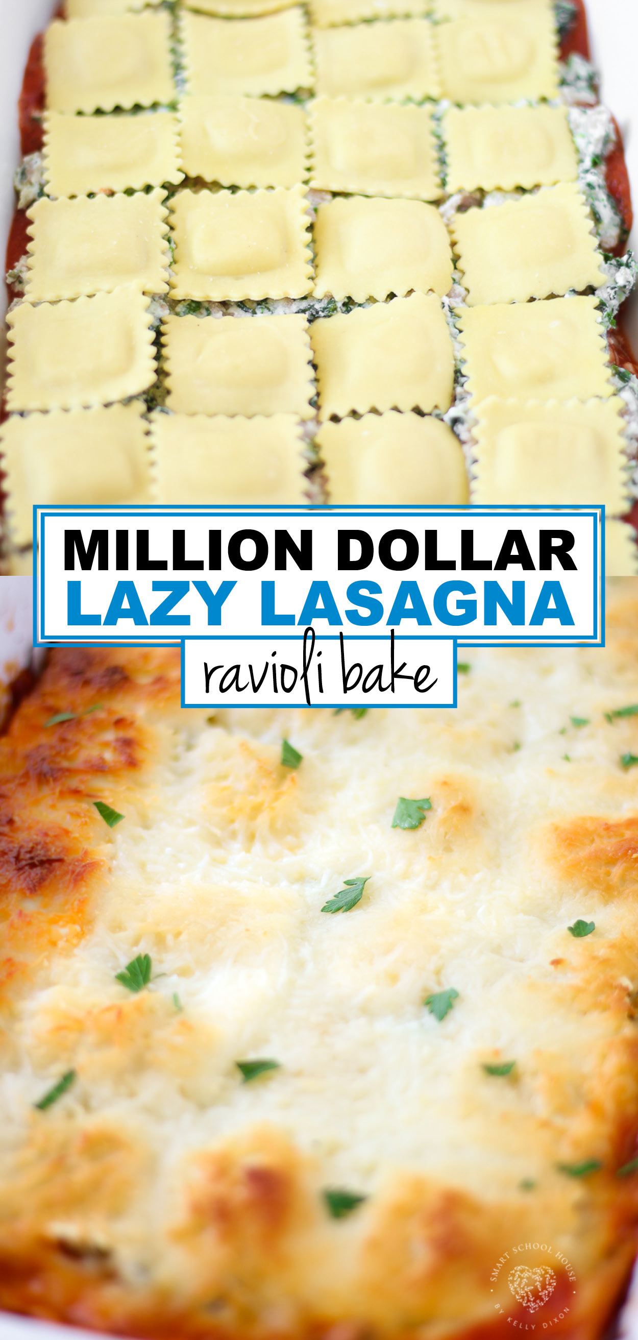 This layered ravioli bake is a cheesy crowd pleasing dinner that has just a few easy-to-find ingredients. In less than an hour, dinner is on the table.