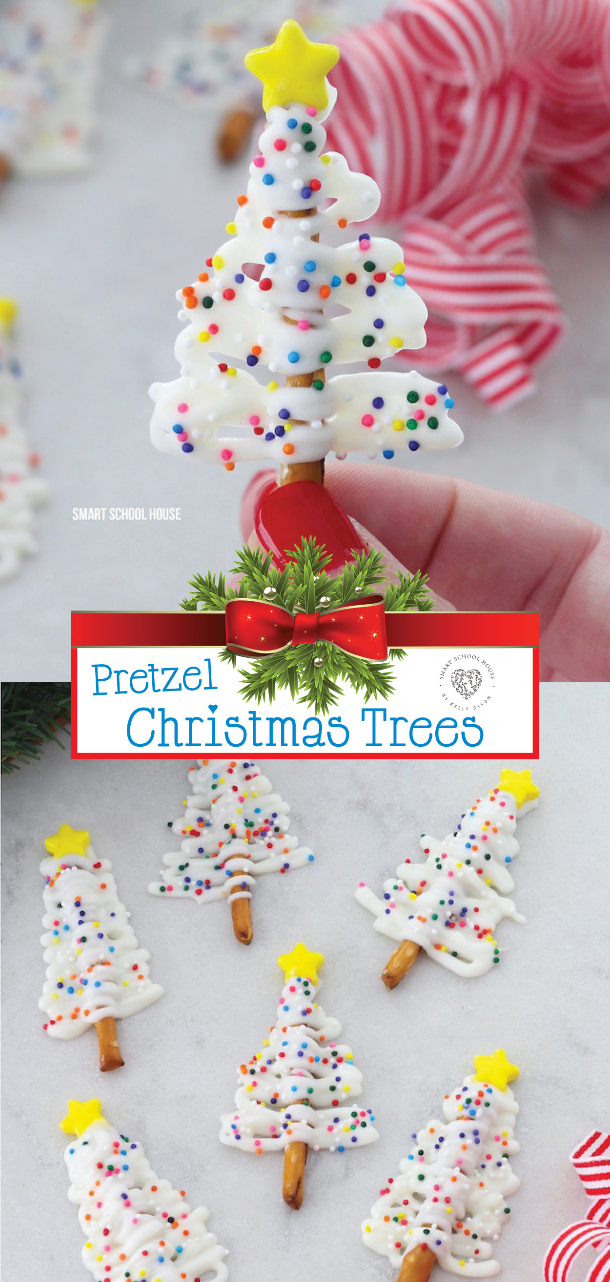 Christmas Trees Made with Pretzels- fast and fun Christmas treats or gift idea