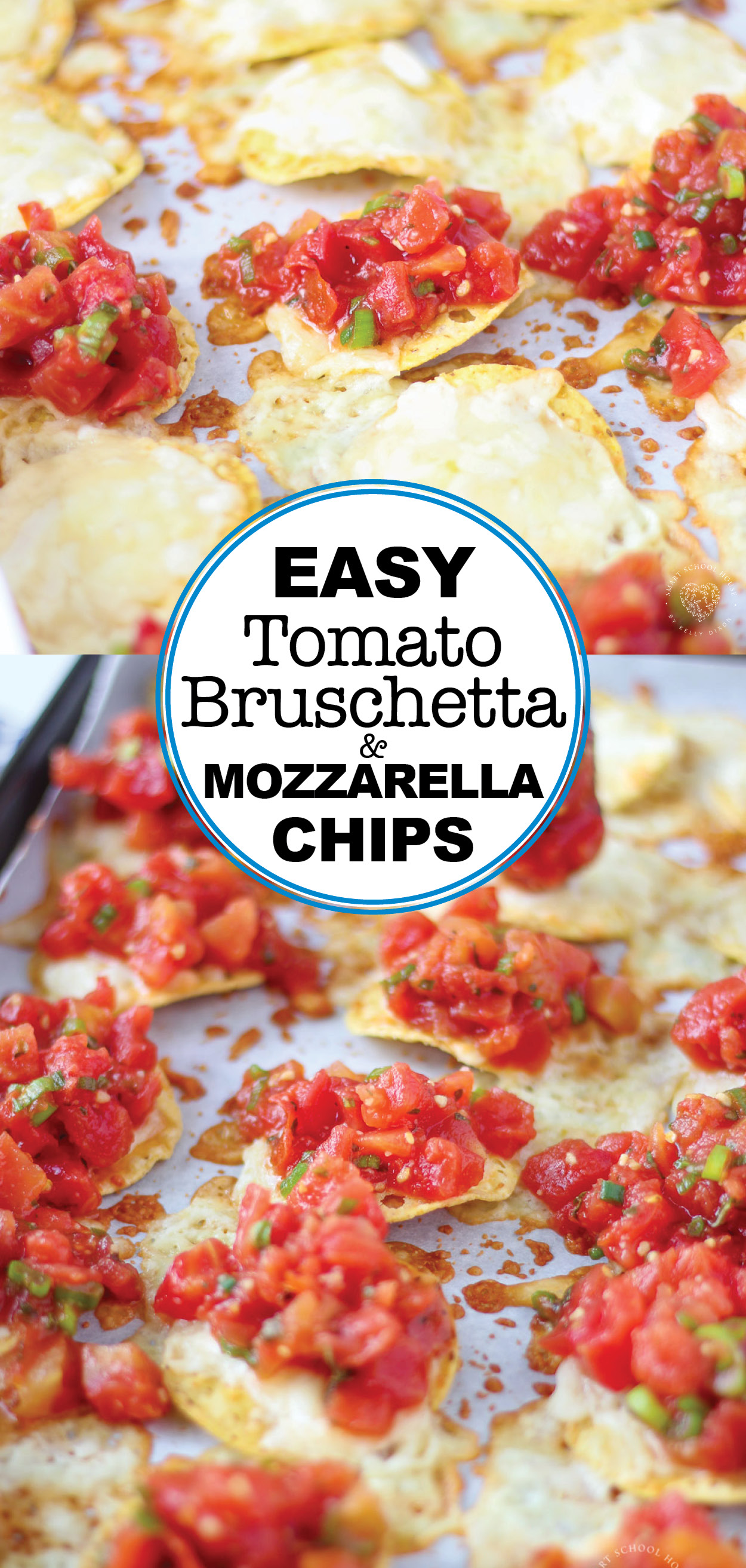 Easy tomato Bruschetta and Mozzarella Chips are always a crowd favorite over the holidays, at parties or even as a quick appetizer before dinner at home.