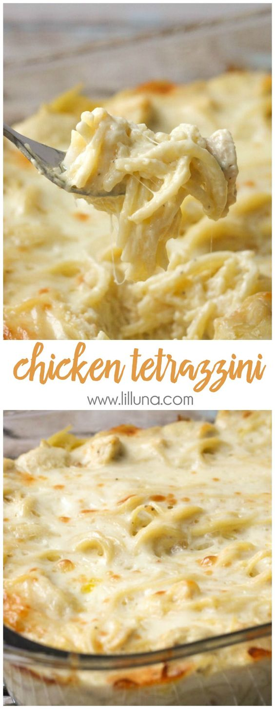 Cheesy Chicken Tetrazzini - Easy and delicious chicken and pasta in a creamy sauce with lots of flavor. It's a family favorite dinner meal!