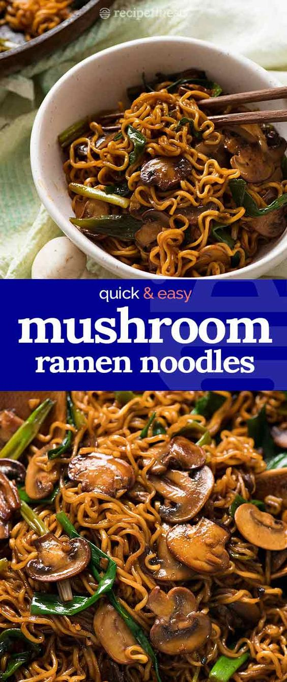 Asian Mushroom Ramen - A quick Asian ramen noodle side dish with caramelized garlic mushrooms with a hint of sesame!