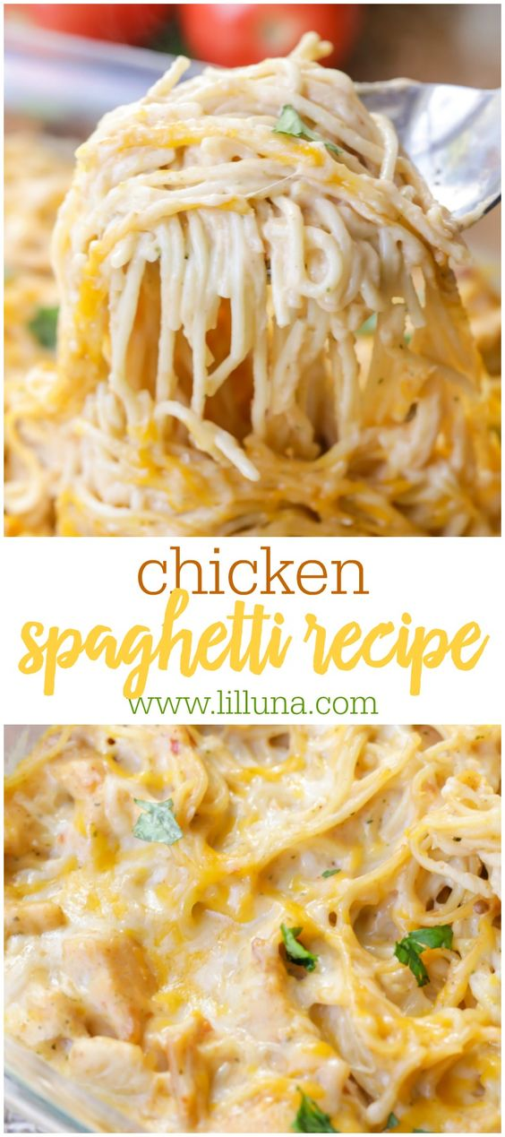 Chicken Spaghetti - This easy recipe calls for chicken, spaghetti noodles, cream of chicken, salsa, sour cream and cheese, making it the epitome of comfort food.