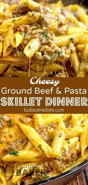 Ground Beef and Pasta Skillet - Great for using any leftover pasta! Simple and inexpensive cheesy ground beef skillet dinner that's nice enough for company.