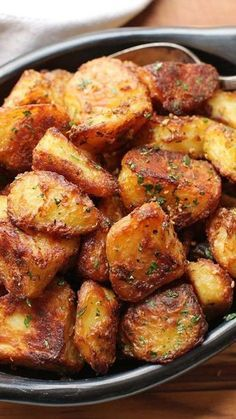 Crispy Roast Potatoes - These are the most flavorful crispy roast potatoes you'll ever make. And they just happen to be gluten-free and vegan (if you use oil).