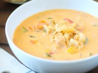 This creamy crock pot curry soup is a healthy dinner recipe that's perfect for fall and winter. It is loaded with veggies and can be eaten all by itself but it is also delicious with rice or noodles.