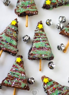 Cut up brownies to create a fun holiday treat. In just a few added steps, you can share these sweet Christmas tree brownies with everyone you love. Kids can even help make these extra special! They'll have fun decorating their own Christmas brownie with a pretzel trunk and ornaments made of sprinkles.