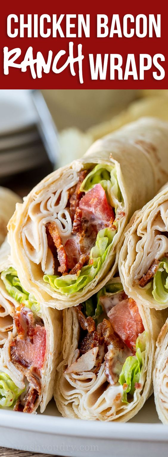 These cool and creamy Chicken Bacon Ranch Wraps are a super quick and easy lunch or light dinner option!
