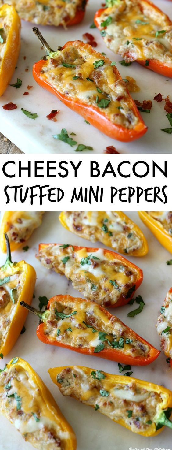 These Cheesy Bacon Stuffed Mini Peppers are the perfect crowd pleasing appetizer! They're stuffed with two kinds of cheese, bacon, and more, then baked till melty and delicious!