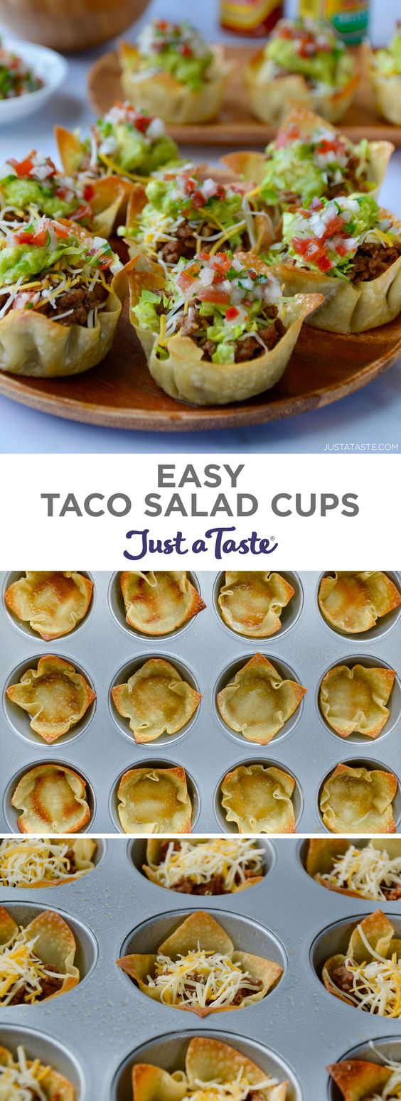 Skip the forks in favor of your fingers with a party-friendly recipe for Easy Taco Salad Cups.