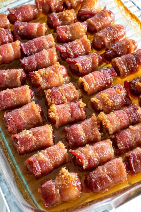 Little Smokies Wrapped in Bacon - Smoked sausages wrapped in crispy bacon smothered in sticky brown sugar. An easy recipe for parties!