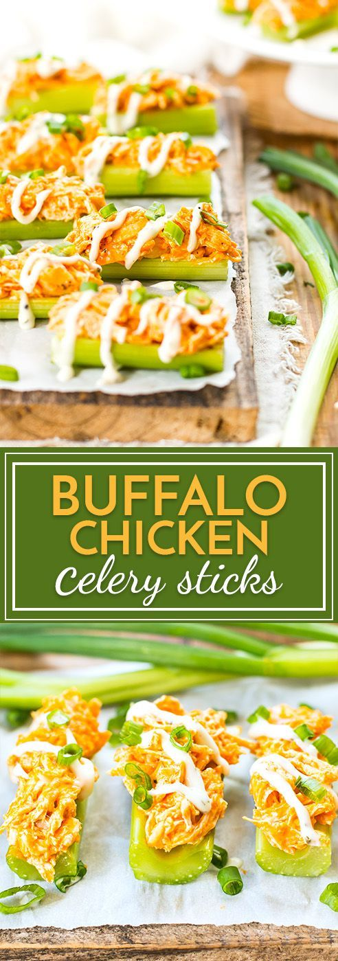 Buffalo chicken celery sticks are loaded up with spicy chicken and then covered in ranch dressing for the perfect party snack or appetizer!