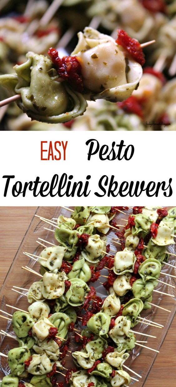 These Easy Pesto Tortellini Skewers can be served room temperature or chilled making them the perfect choice for potlucks, BBQ's, holiday parties, and brunches.