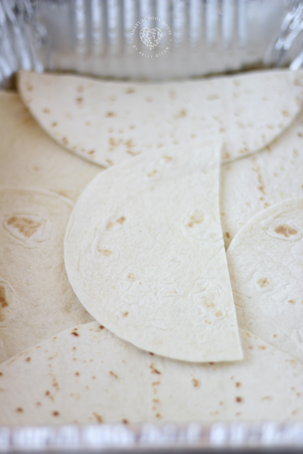 Tortillas cut in half.