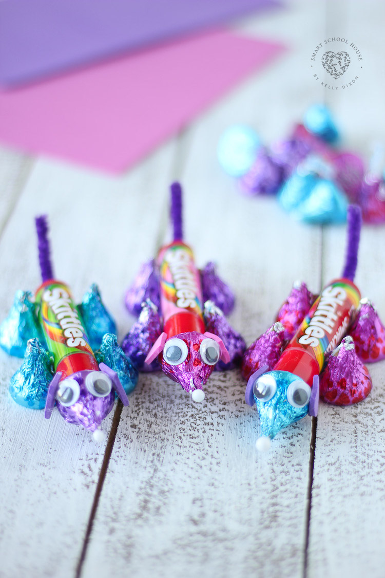 Valentine Candy Critter for a Fun Kid's Craft and Treat - Made from Hershey's Kisses. Easy , Fun and so cute!
