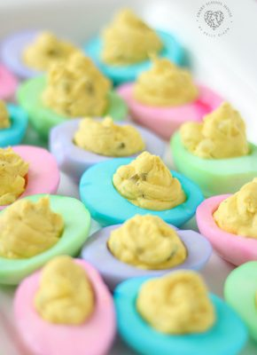 Colored Deviled Eggs are so beautiful! A very easy, special touch for Easter and fun to do for baby showers as well.