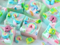 A swirly twirly white chocolate rainbow treat!