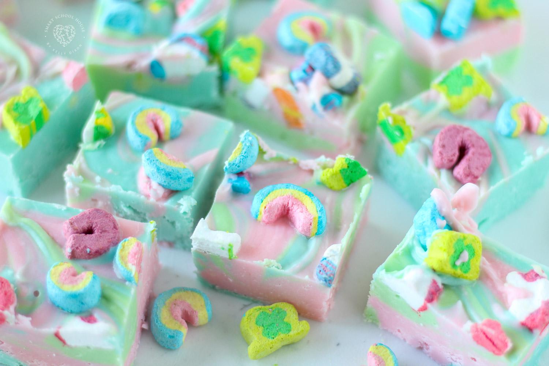 Rainbow Fudge Made with Lucky Charms