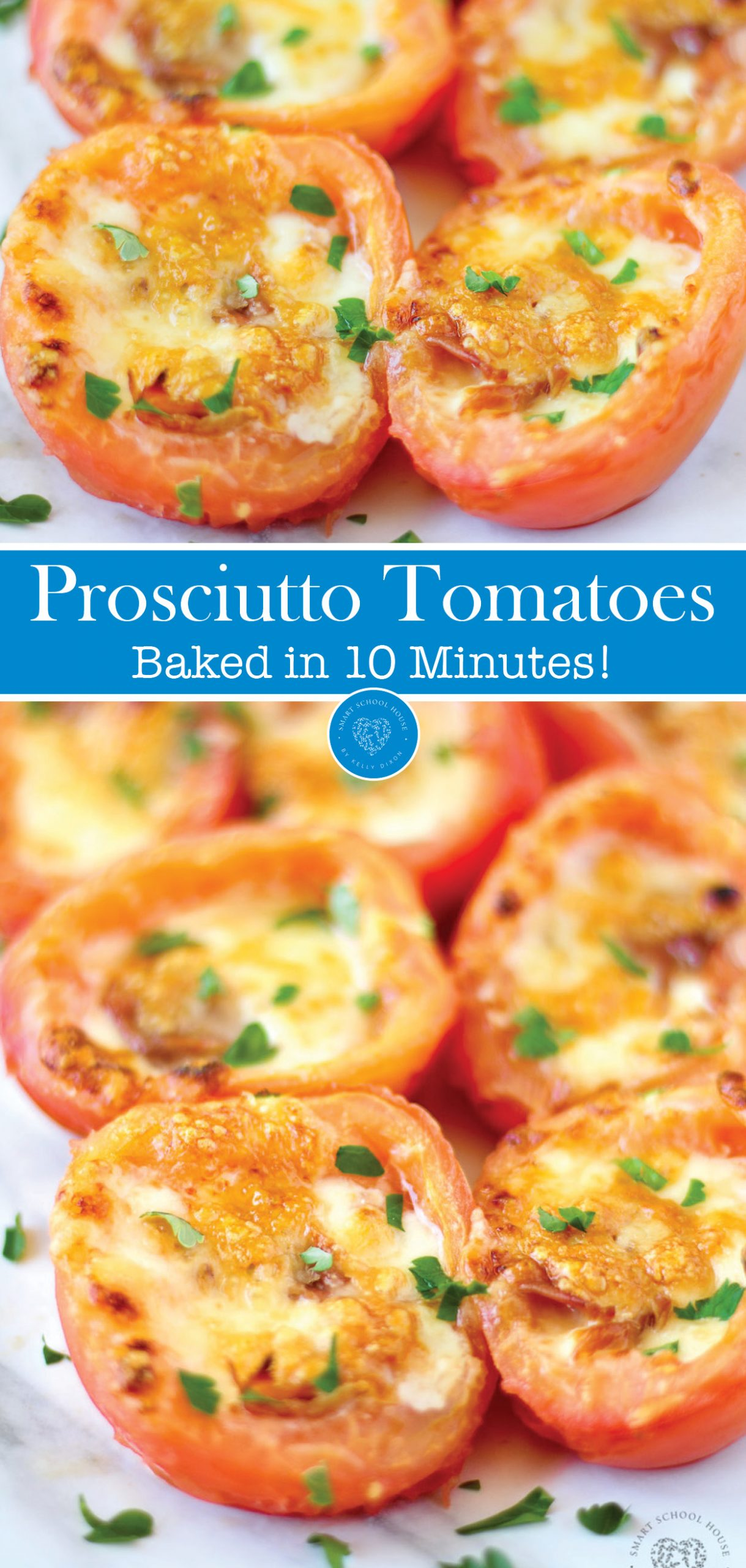 Roma Baked Tomatoes with mozzarella and Parmesan cheese. Topped with prosciutto and broiled to perfection in ten minutes or less.