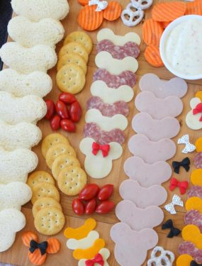 Disney Snack Board - filled with cheese and meat to make Mickey Sandwiches!