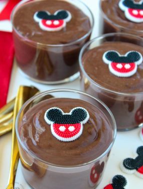 Disney Pudding Cups. An easy snack idea for a Mickey Mouse themed party!