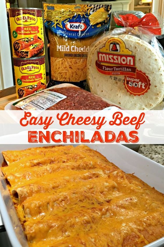 Easy Cheesy Beef Enchiladas - With just four ingredients and under an hour from start to finish, these cheesy, beefy, saucy enchiladas are a cinch to make, always a hit! Easy to adapt too.