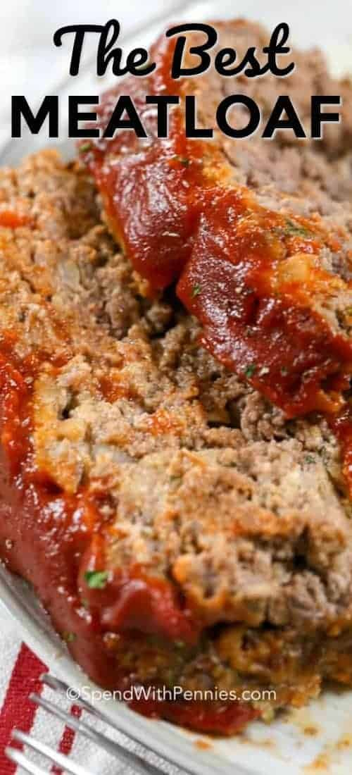 The BEST Meatloaf Recipe is something I've worked years at perfecting... and here it is! A tender juicy beef meatloaf topped with a zesty topping and baked until tender and juicy!