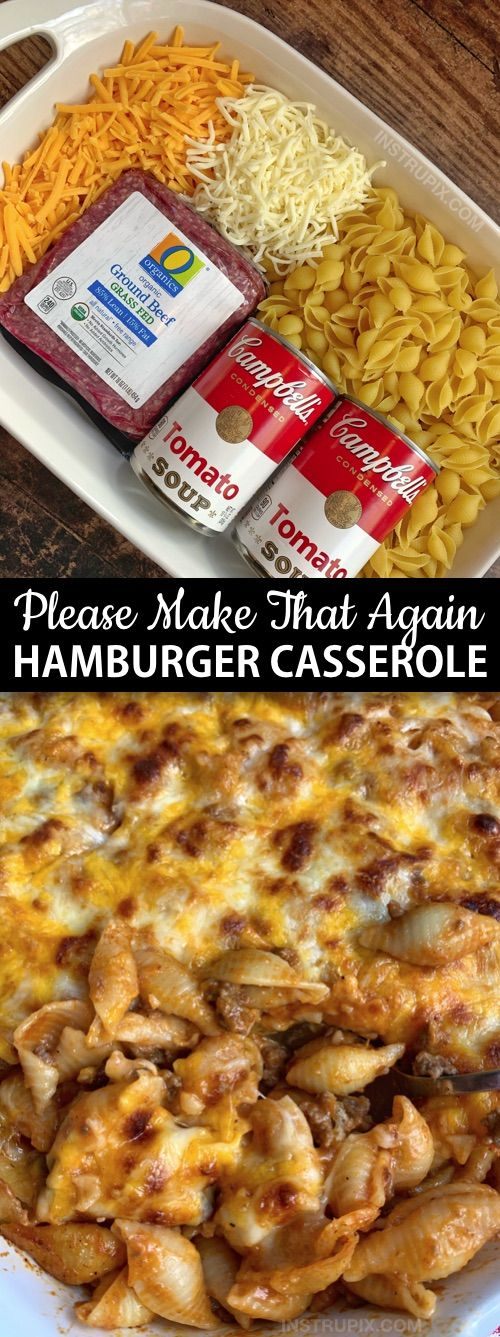 Easy Hamburger Casserole Recipe (4 Ingredients) - Looking for quick and easy dinner recipes for the family? This simple casserole dish is perfect for busy weeknights, picky eaters and hungry husbands! It's not only delicious, it's also budget friendly.