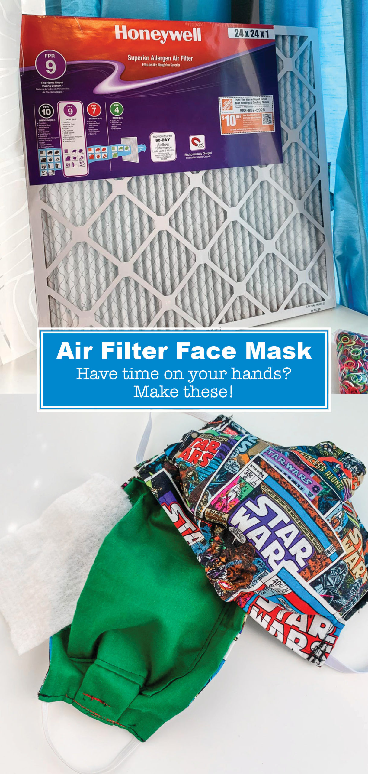Did you know you can use a common household air filter to create a face mask? Here's how to sew a DIY Face Mask with a Filter if needed!
