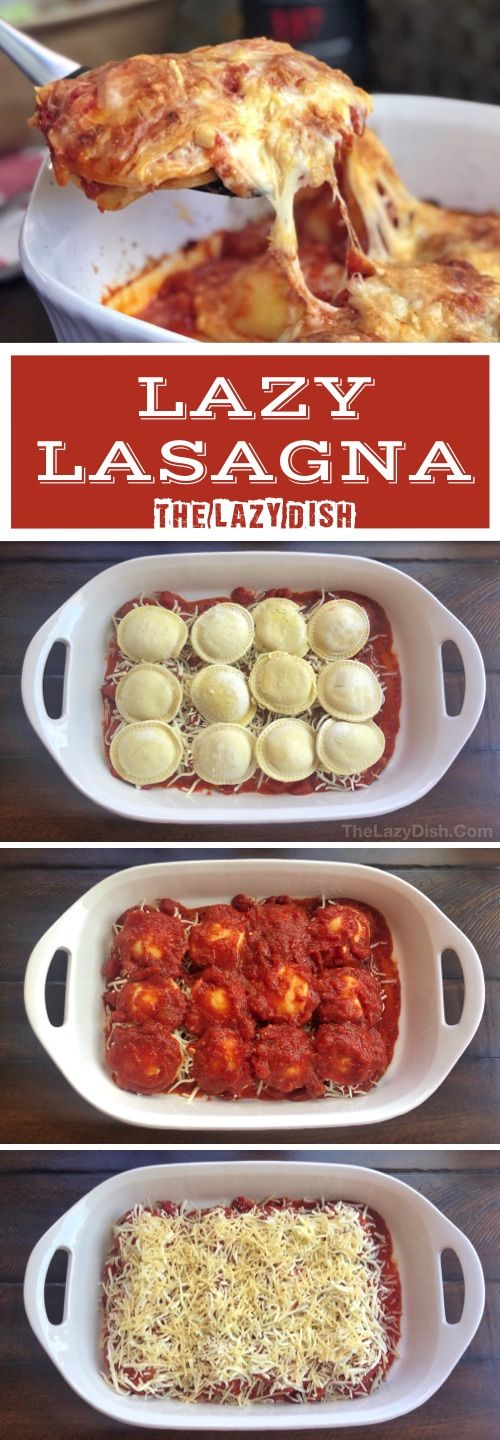 Lazy Lasagna - If you're looking for quick and easy dinner recipes the entire family will love, THIS is it! My kids love it. It's made with cheap and simple ingredients that are easy to keep on hand: frozen ravioli, cheese and sauce. Simply layer everything together, and bake. It's comes out of the oven just like lasagna, but without all of the hassle.