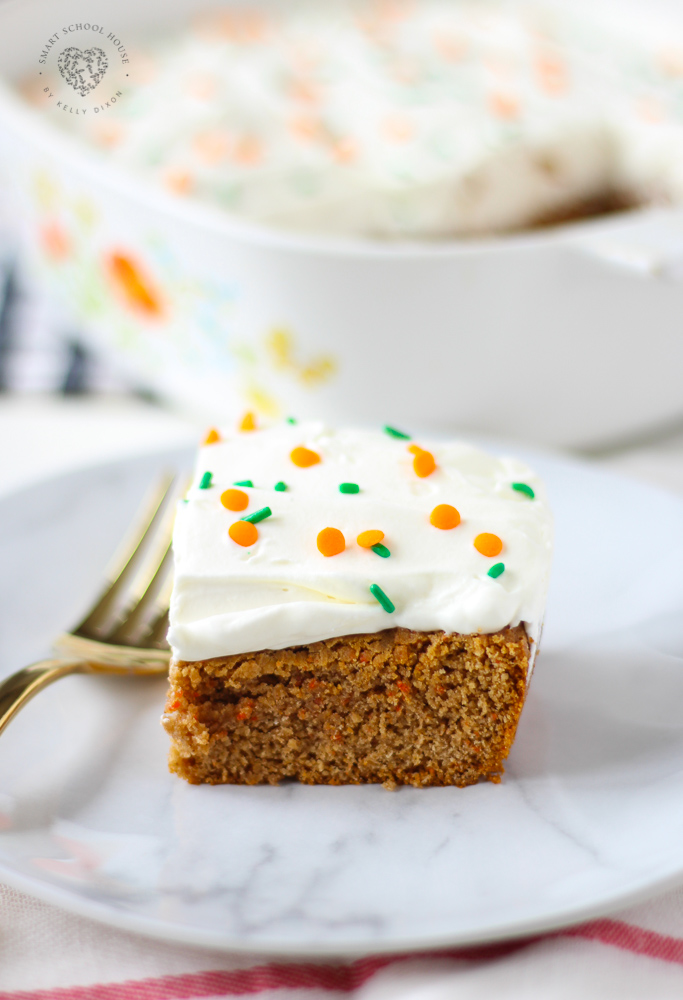 Lazy Carrot Cake - Made with butter, eggs, and topped with a whipped cream frosting.