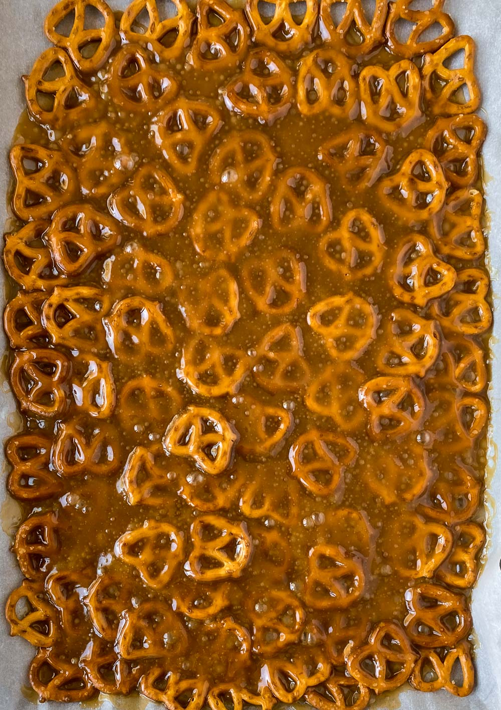 Toffee over pretzels
