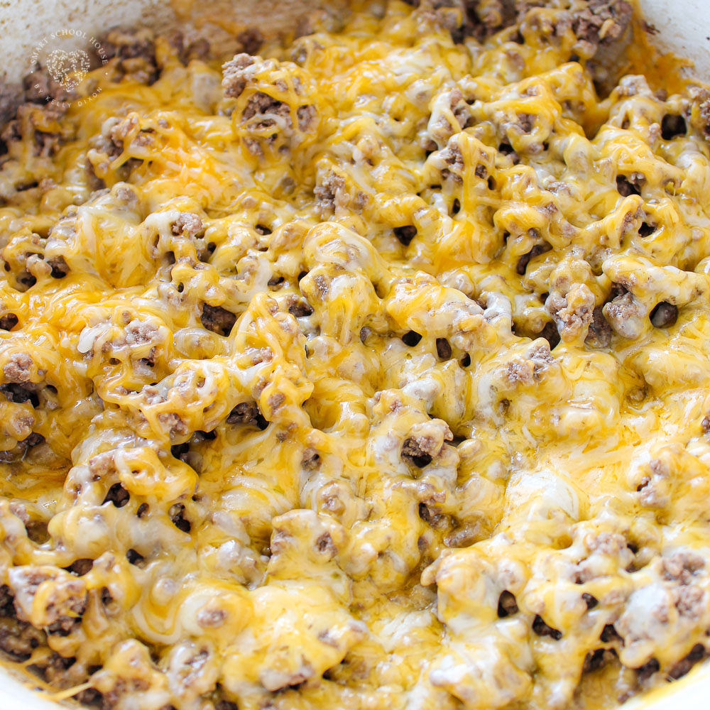 Ground beef with melted cheese