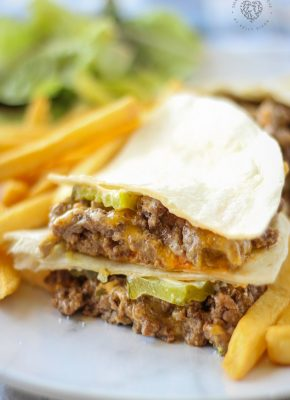 These Cheeseburger Quesadillas are easy enough to make for a quick weeknight dinner, but I also love them to serve as an appetizer (think Super Bowl!). Served with a side of fries and a salad, this recipe will be a hit! Plus, it's picky-eater approved:)