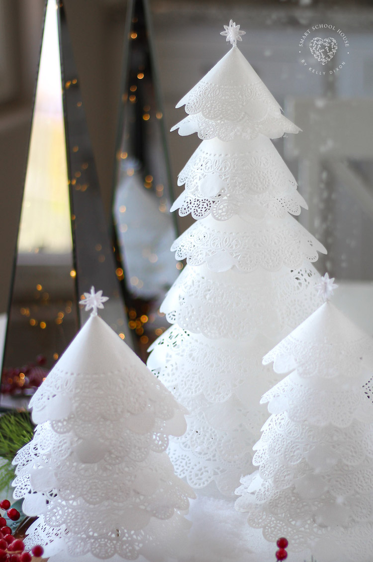 How to Make Beautiful White Doily Christmas Trees! An Adorable DIY Holiday Christmas Craft idea!