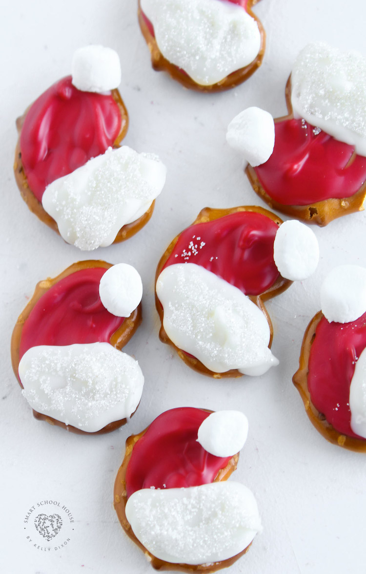 Bite-sized bits of North Pole magic, these Pretzel Santa Hats are just what your holiday needs!