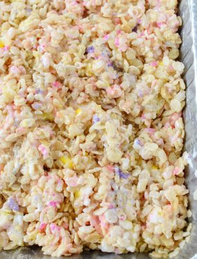 Peeps Rice Krispie Treats Are Ordinary Rice Krispies Treats With a Twist! They're made with Peeps for a colorful Easter treat!