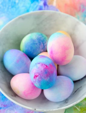 Whipped Cream Dyed Easter Eggs! Coloring Easter Eggs has never been easier! You only need two ingredients, whipped cream and food coloring!