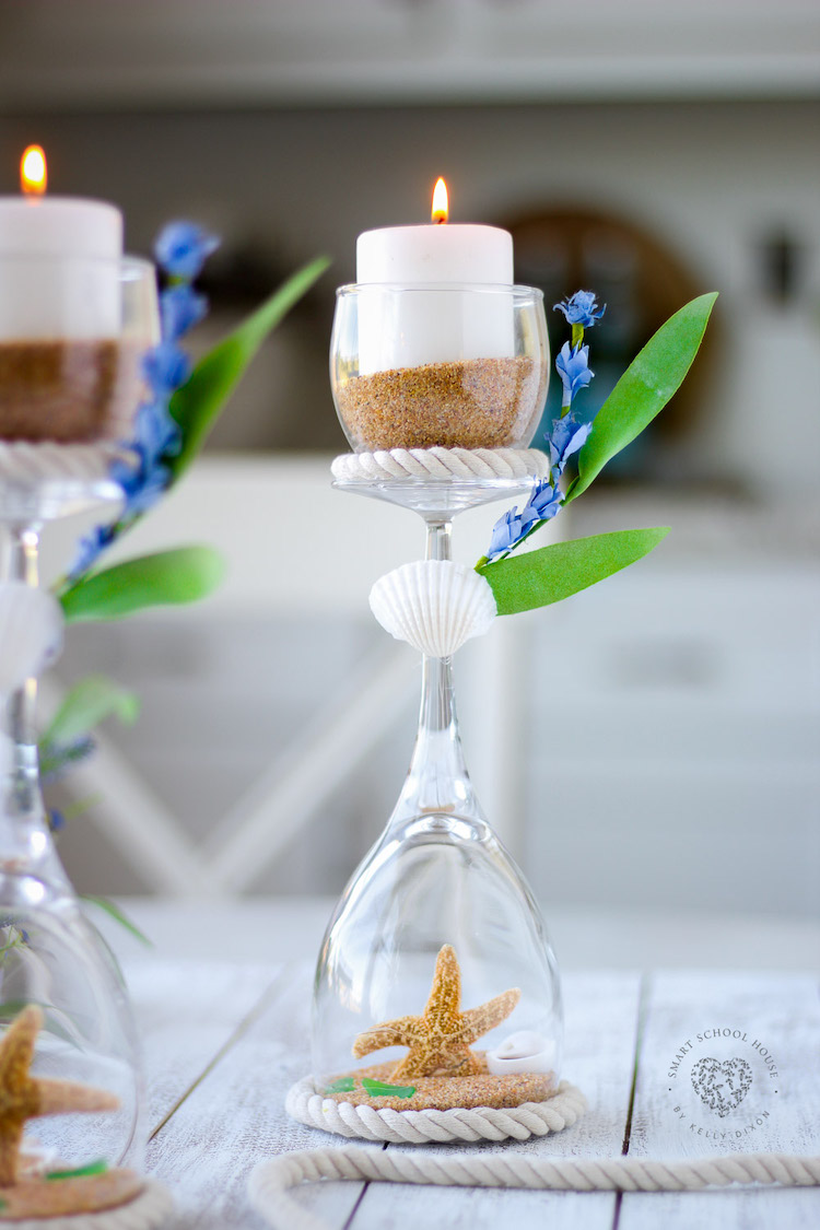 These Wine Glass Candle Holders with starfish, seashells, and sea glass are delicately gorgeous and elegant.