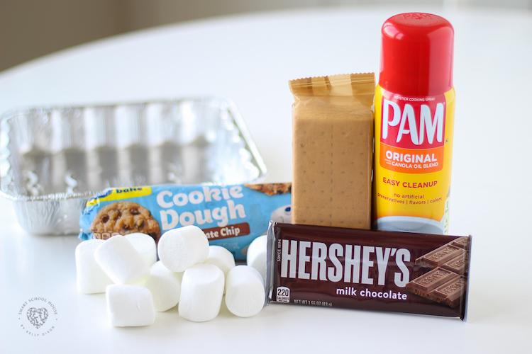 Ingredientes das barras de biscoitos S'mores